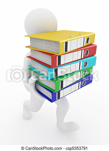 Men with archive from folders. - csp5353791