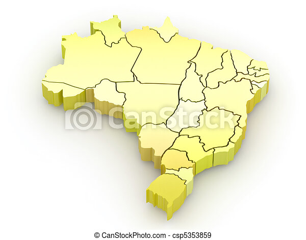 Three-dimensional map of Brazil. 3d - csp5353859