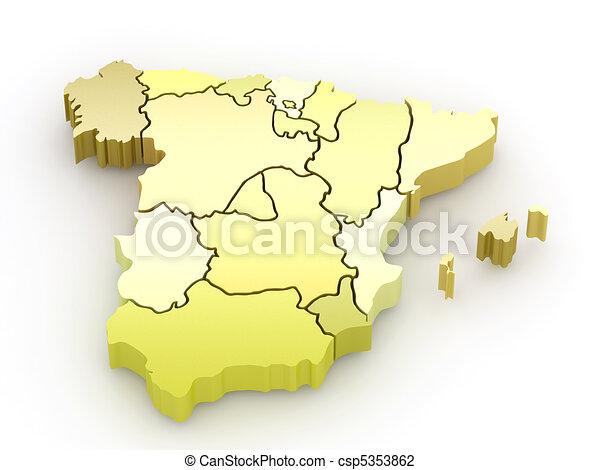 Three-dimensional map of Spain. 3d - csp5353862