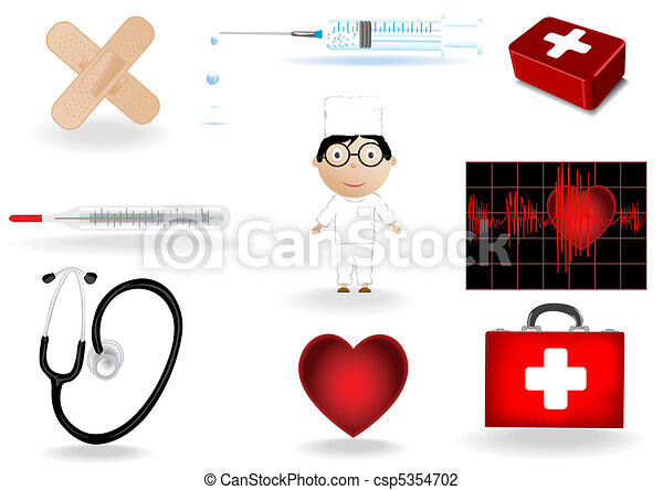 Vector illustration a medical set and the doctor - csp5354702