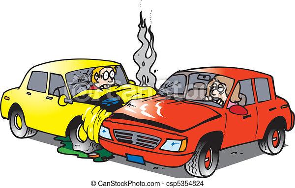 Vecteur eps de accident voiture deux voitures dans une accident csp5354824 - Accident de voiture dessin ...