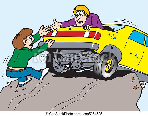 car over cliff - csp5354825