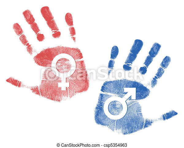 male and female Handprint signs - csp5354963