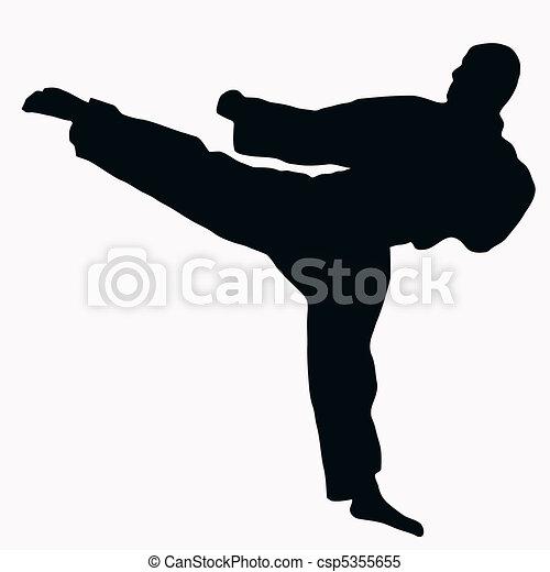 Sport Silhouette - Karate Kick - csp5355655