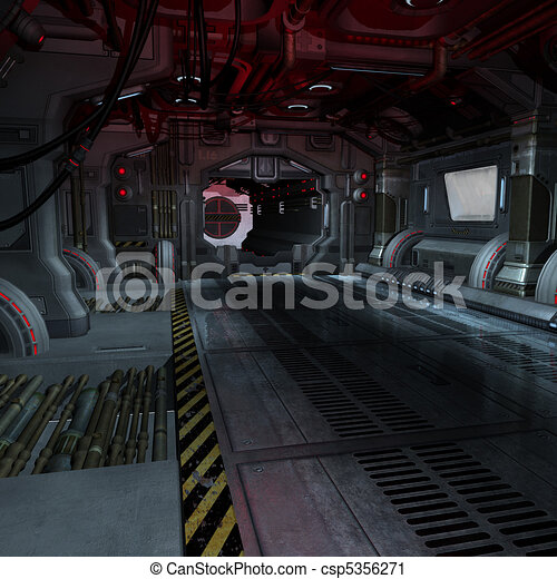 background or composing image inside a futuristic scifi spaceship - csp5356271