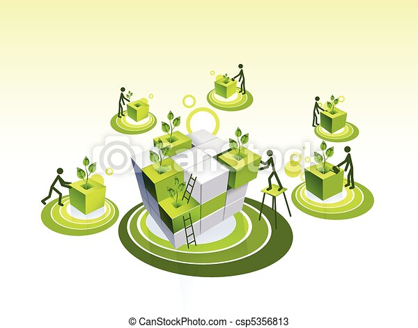 Concept illustration of a green living community - csp5356813
