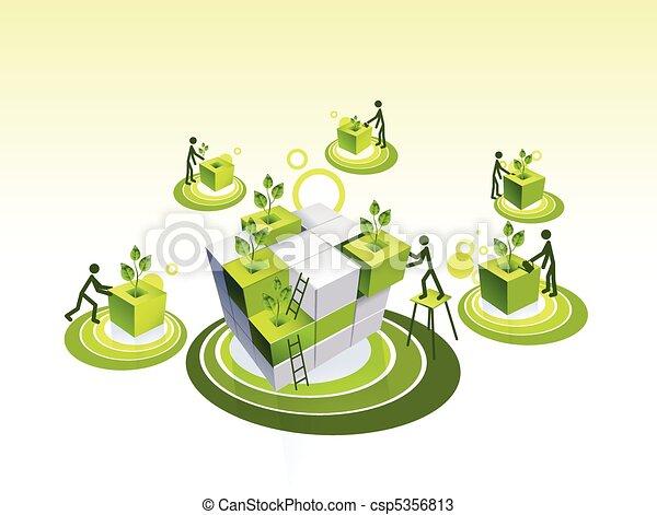 Concept illustration of a green living community - csp5356813