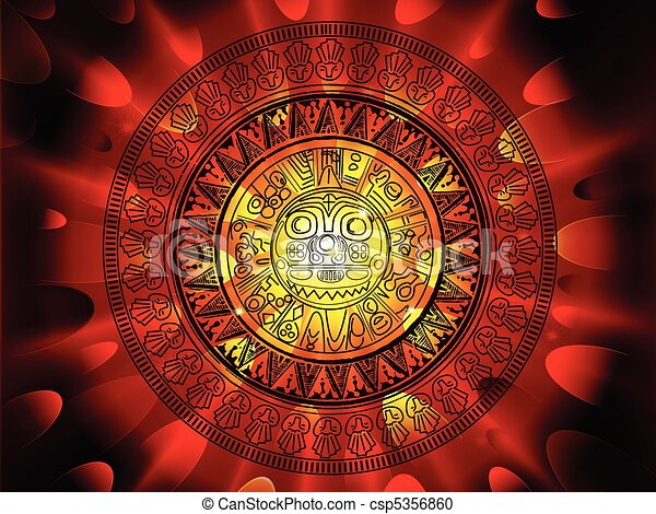 Maya calendar on a end of days background - csp5356860