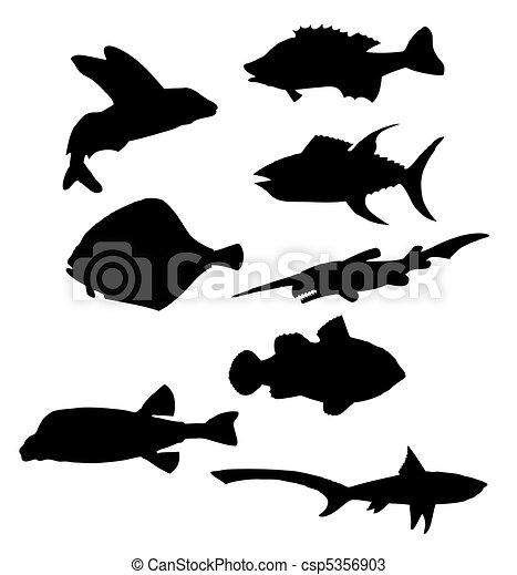 fish silhouettes vector - csp5356903