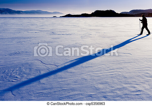 Cross-Country Skier long shadow - csp5356963