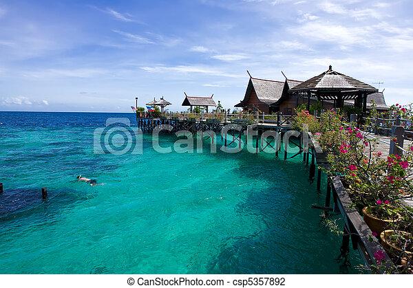A man-made Kapalai island with exotic tropical resort - csp5357892