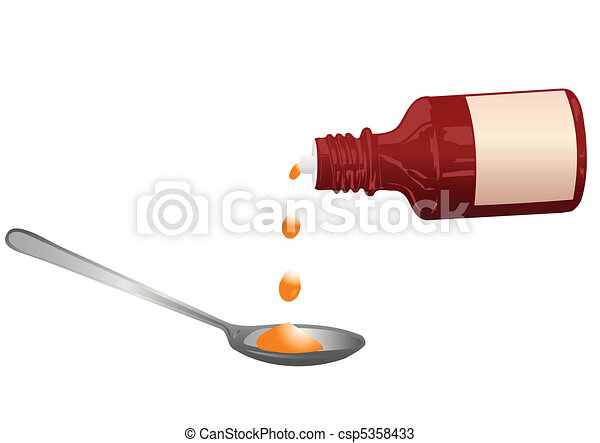 Vector illustration a bottle with a medicine and a spoon - csp5358433