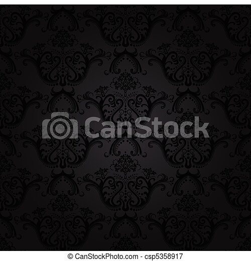 Charcoal floral seamless wallpaper - csp5358917