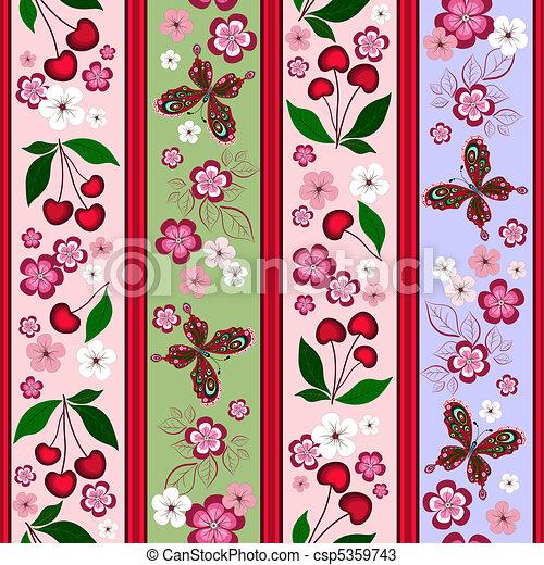 Floral striped effortless pattern - csp5359743