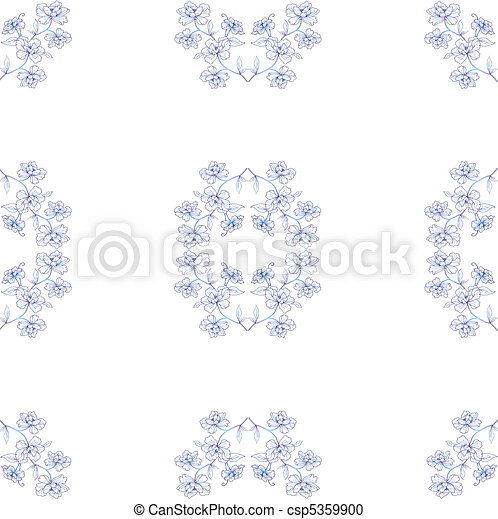 Seamless floral background. Repeat many times. Vector illustration. - csp5359900