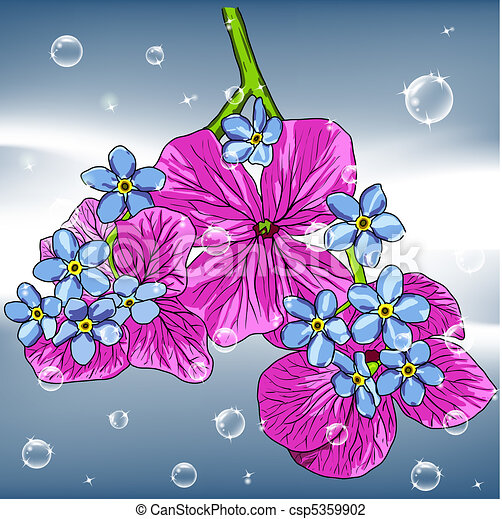 floral background with a hand drawn flavor of blooming spring Blossoms - csp5359902