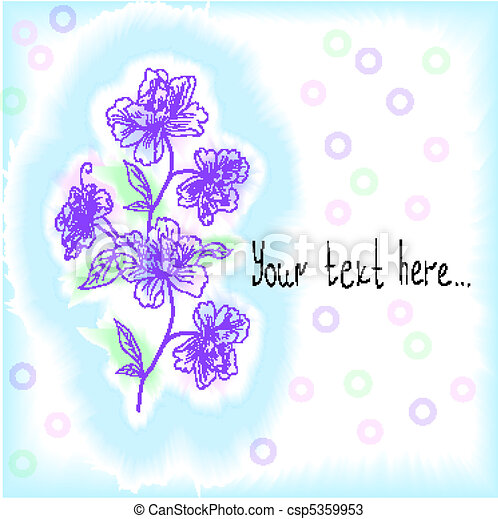 light blue background with rich hand-drawn flowers - csp5359953