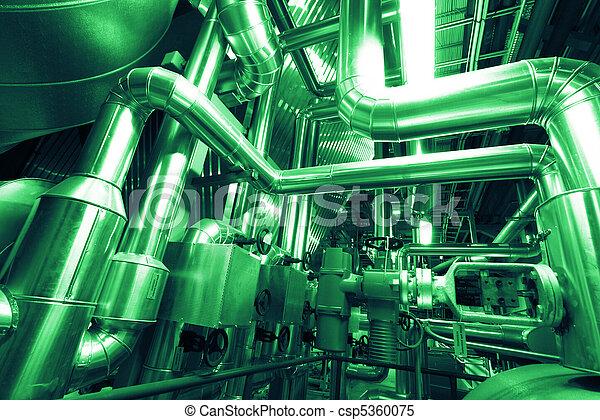 Industrial zone, Steel pipelines, valves and ladders - csp5360075