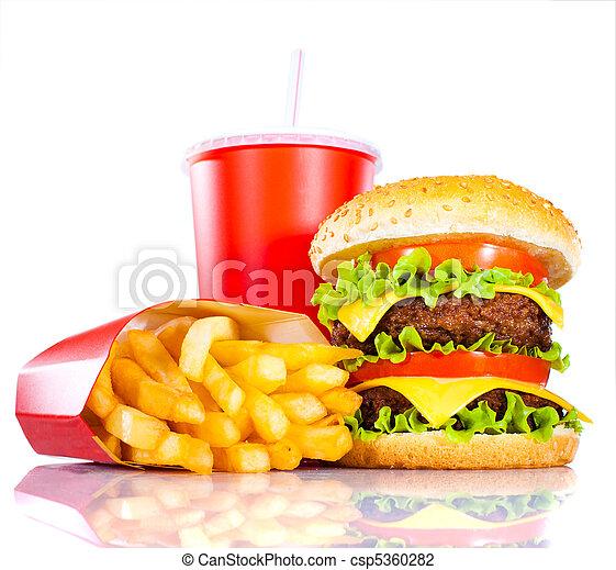 Tasty hamburger and french fries - csp5360282