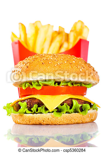 Tasty hamburger and french fries - csp5360284