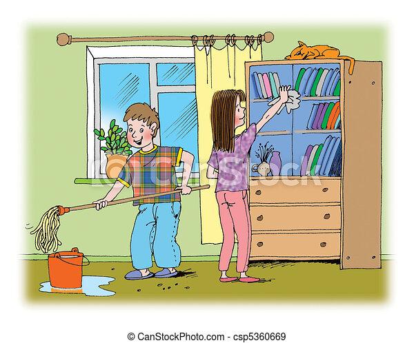 stock illustration von putzen hand gezeichnet abbildung ber junge und csp5360669. Black Bedroom Furniture Sets. Home Design Ideas