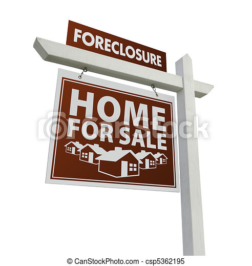 Red Foreclosure Home For Sale Real Estate Sign on White - csp5362195