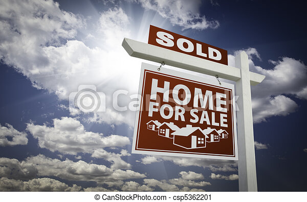 Clipart of red sold home for sale real estate sign over for Real art for sale