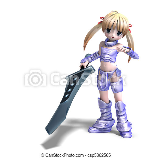 female manga paladin with huge sword. 3D rendering and shadow over white - csp5362565