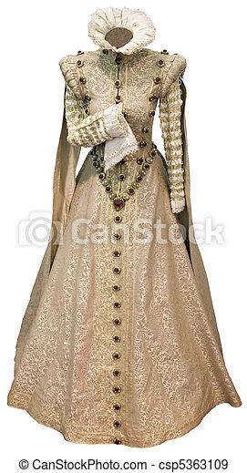 Beige renaissance dress cutout - csp5363109