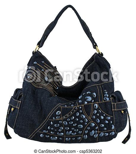 Stock fotó - kék, farmernadrág, nők, táska, fehér, háttér ...