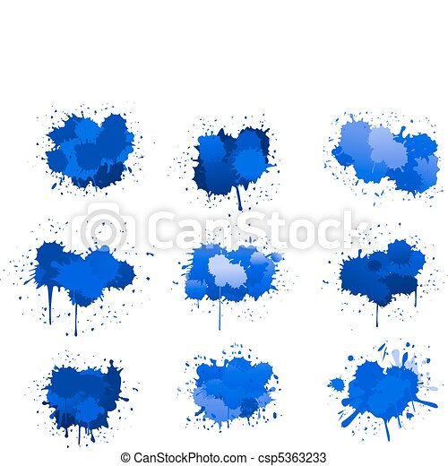 Blue ink blobs - csp5363233