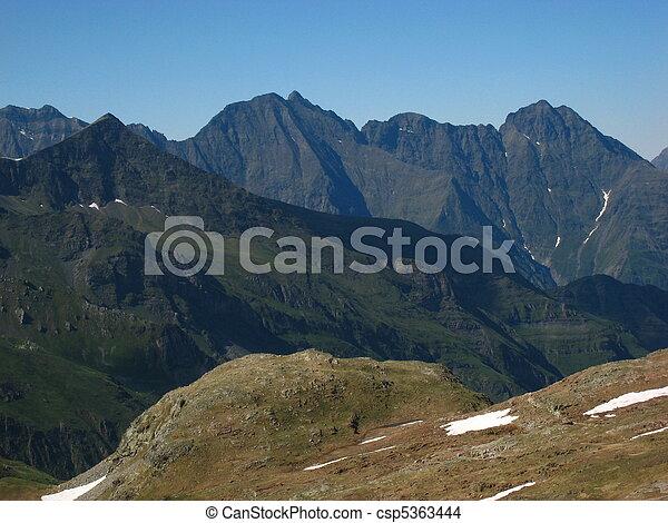 Sharp peaks of high rocky black mountains