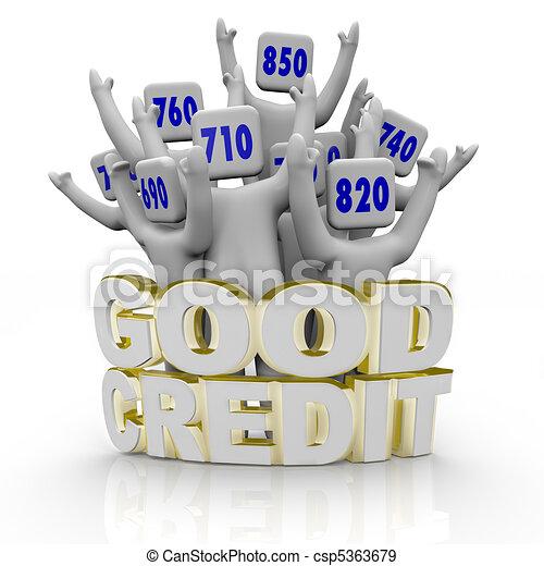 Good Credit Scores - People Cheering - csp5363679