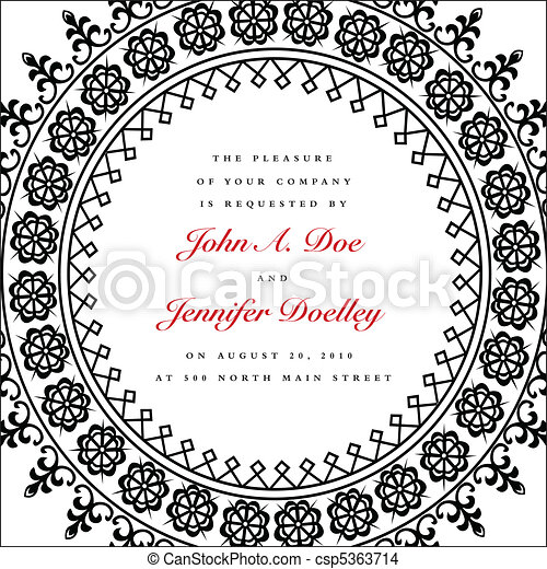Vector Round Ornate Wedding Frame - csp5363714