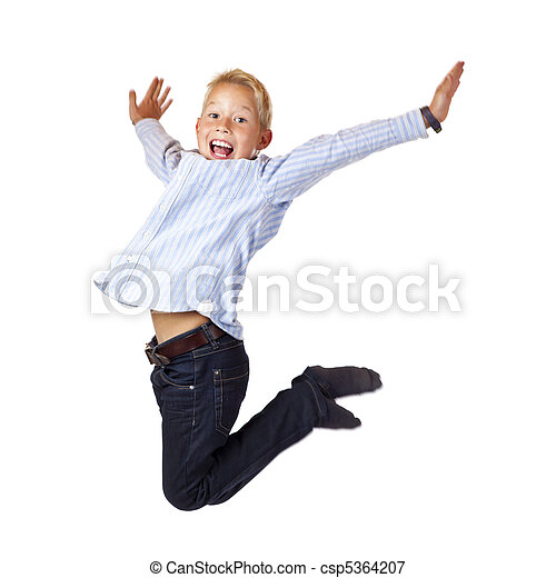 Happy sportive boy jumps with spread arms in the air - csp5364207