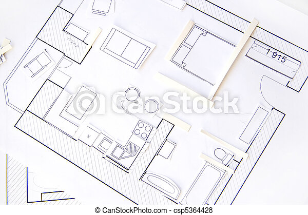 Interior design apartments - top view. Paper model