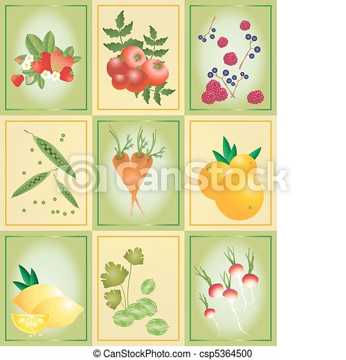 fruit and vegetable tiles - csp5364500