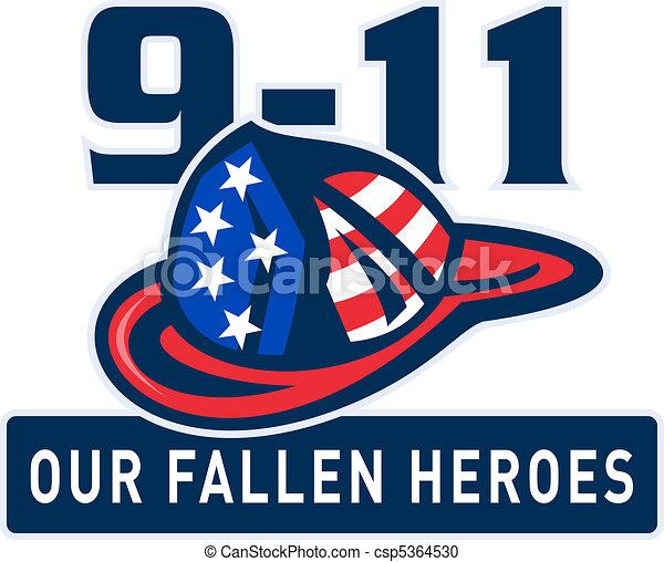 9-11 fireman firefighter helmet  - csp5364530