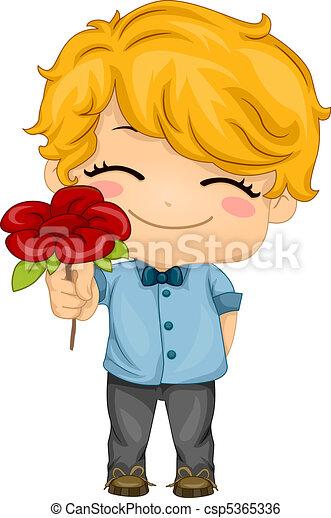 Boy Presenting a Flower - csp5365336