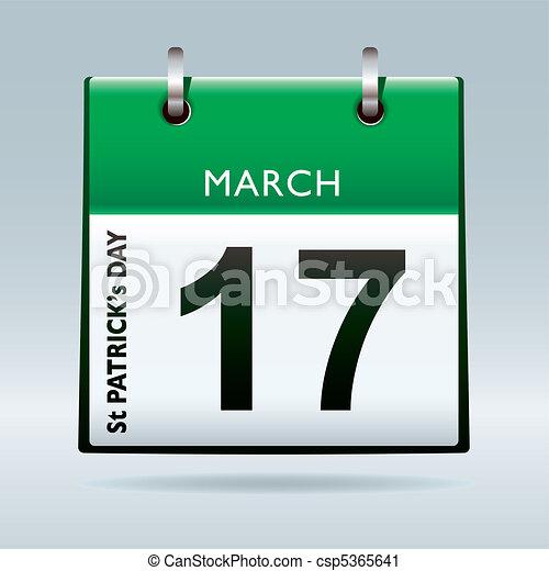 St Patricks Day Calendar green - csp5365641