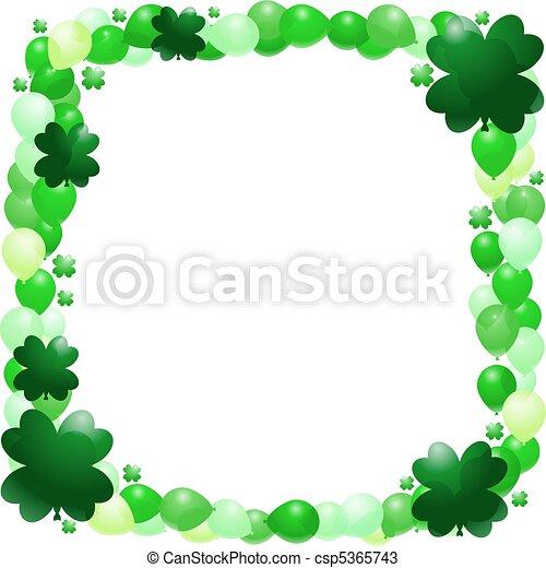 Vectors of St. Patrick's balloon frame - Vector border of green ...