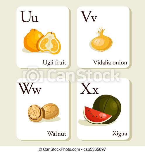 Clipart of Fruits and vegetables alphabet cards , illustration ...