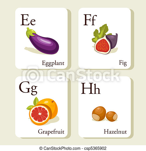 Fruits and vegetables  alphabet cards  - csp5365902