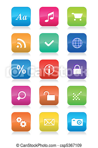Mobile phone interface icons set - csp5367109