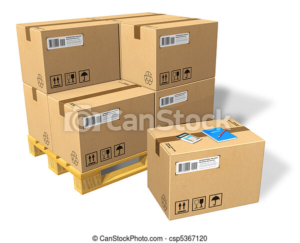Cardboard boxes on pallet - csp5367120