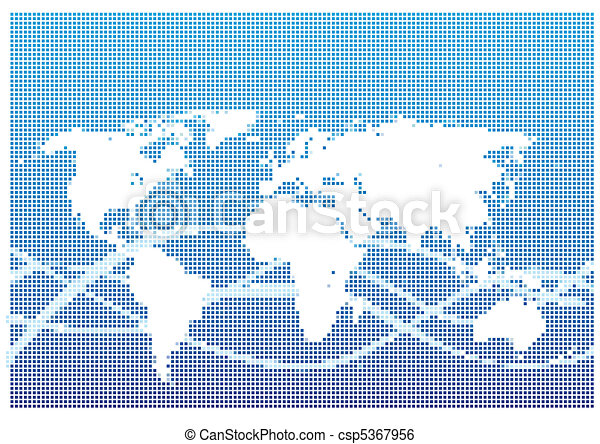 Dot Style World Map With Continents - csp5367956