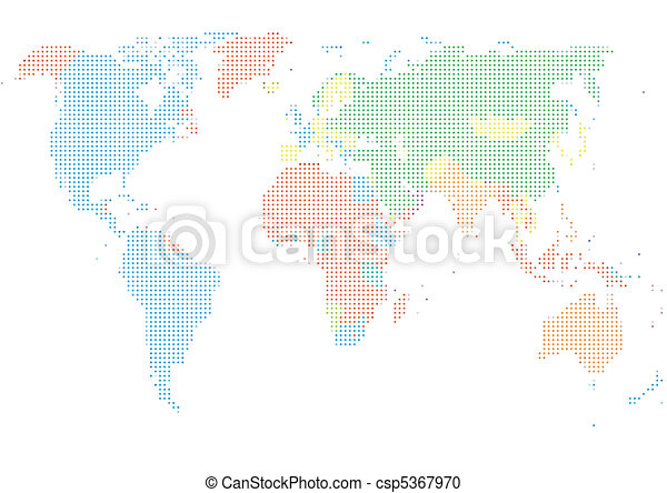 Dot Style World Map With Continents - csp5367970