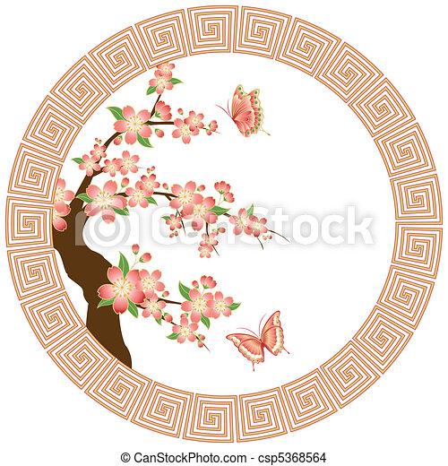 Oriental cherry blossom wallpaper - csp5368564
