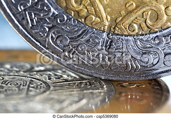 macro of mexican coins with a selective focus - csp5369080