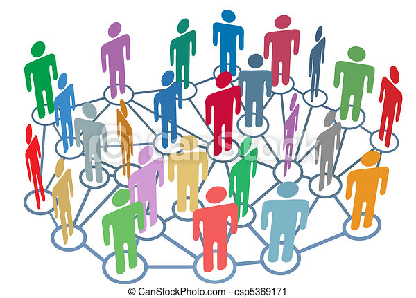 Many people group talk network social media - csp5369171